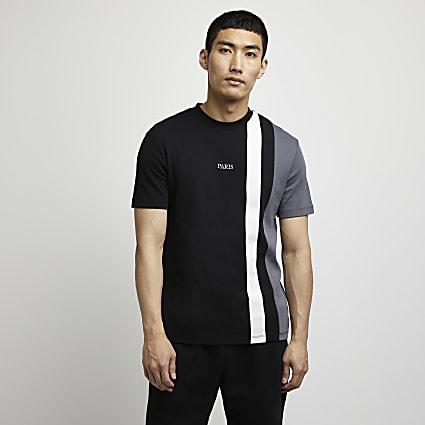 Black colour block slim fit t-shirt