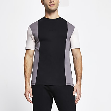 Black colour block slim short sleeve t-shirt