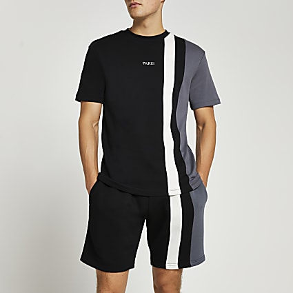 Black colour block t-shirt & shorts set