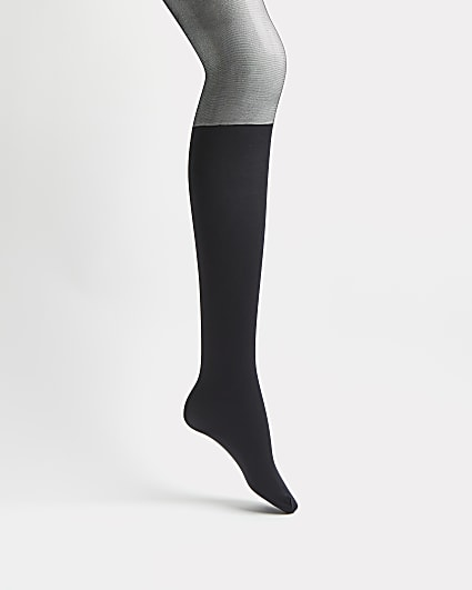Black colour block tights