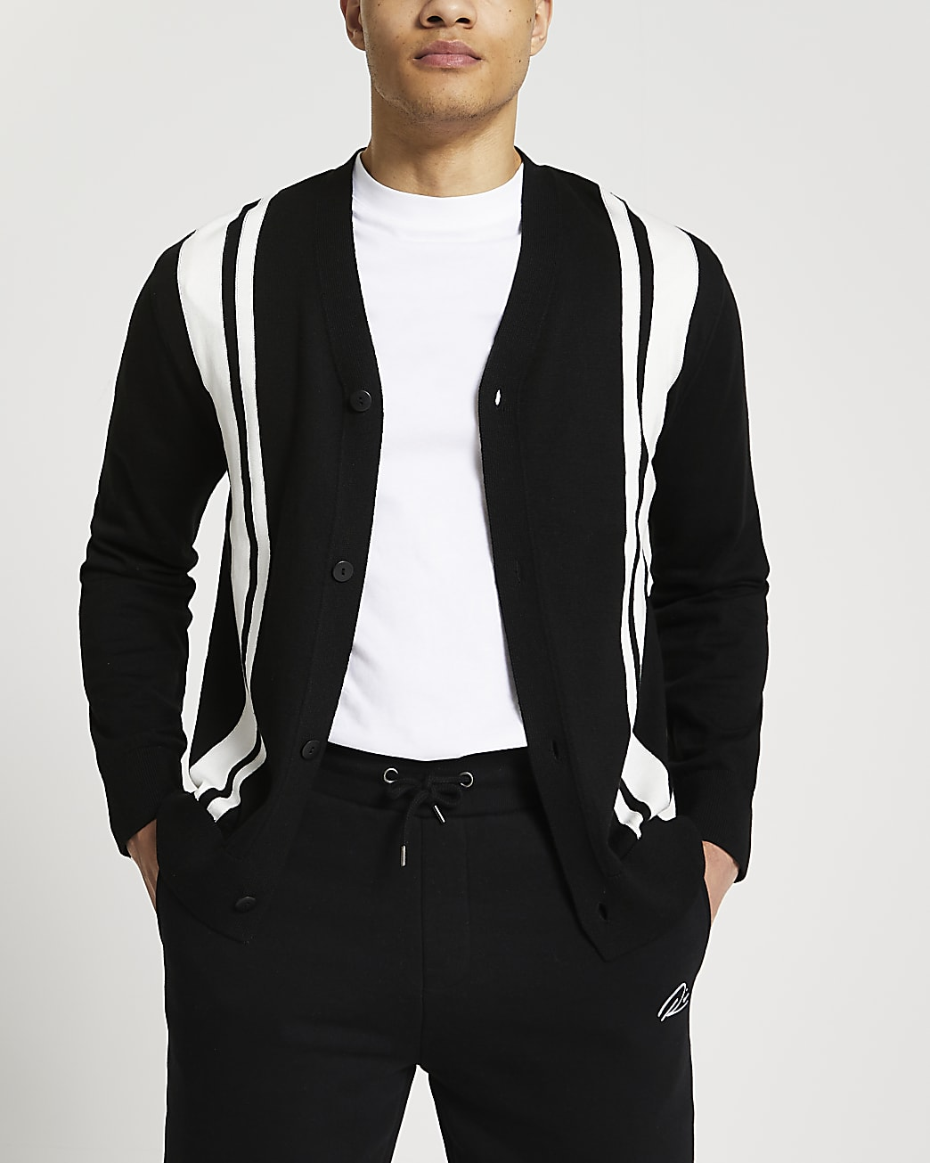 Black colour blocked cardigan