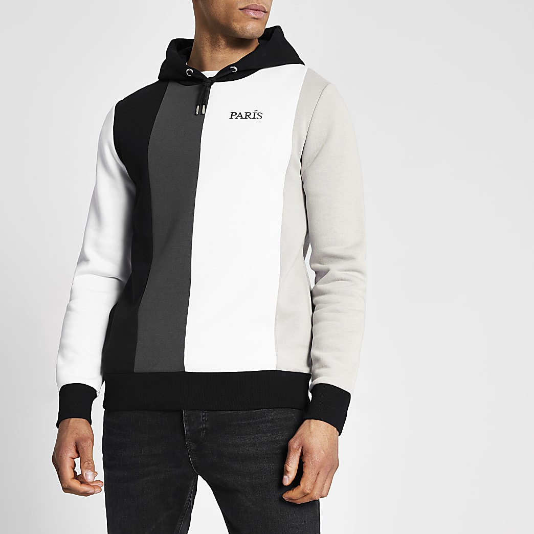 Zwarte slim-fit hoodie met kleurvlakken