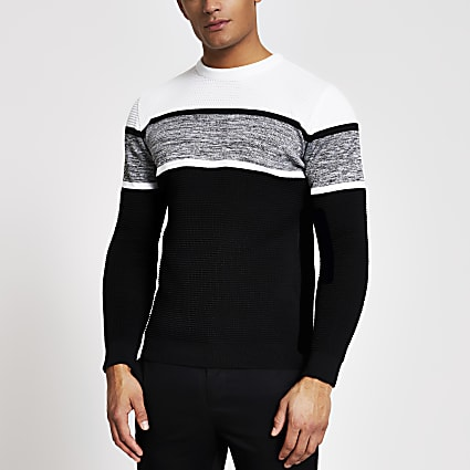 Black colour blocked slim fit knitted jumper