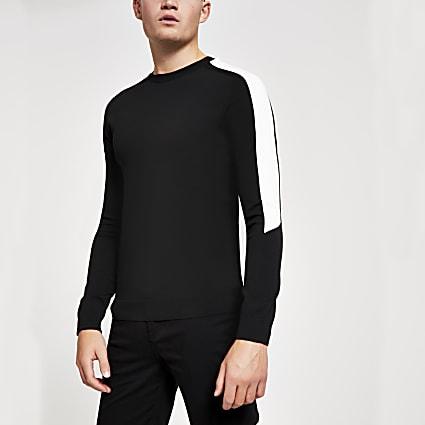 Black colour blocked slim fit knitted jumper