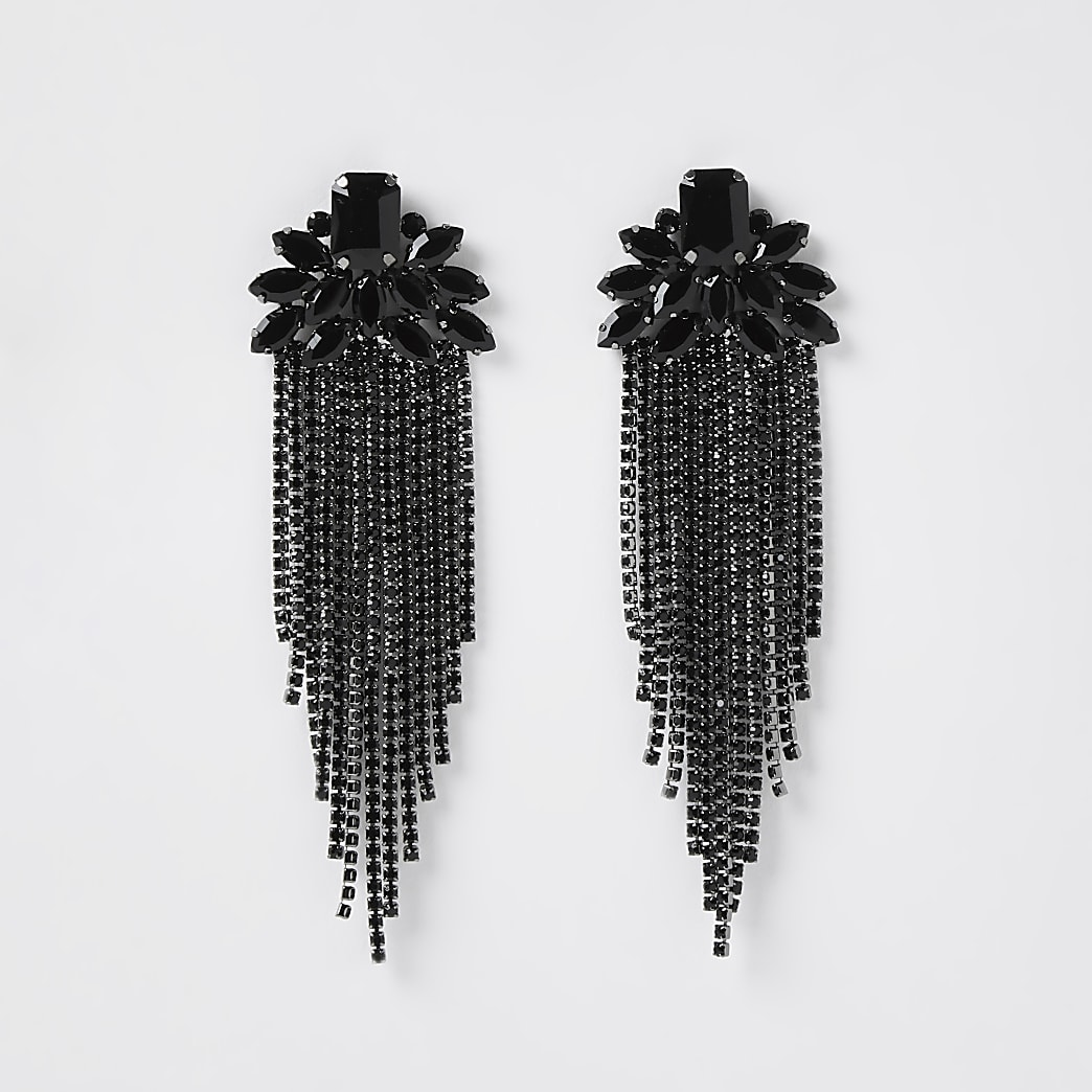 Black colour diamante tassel drop earrings