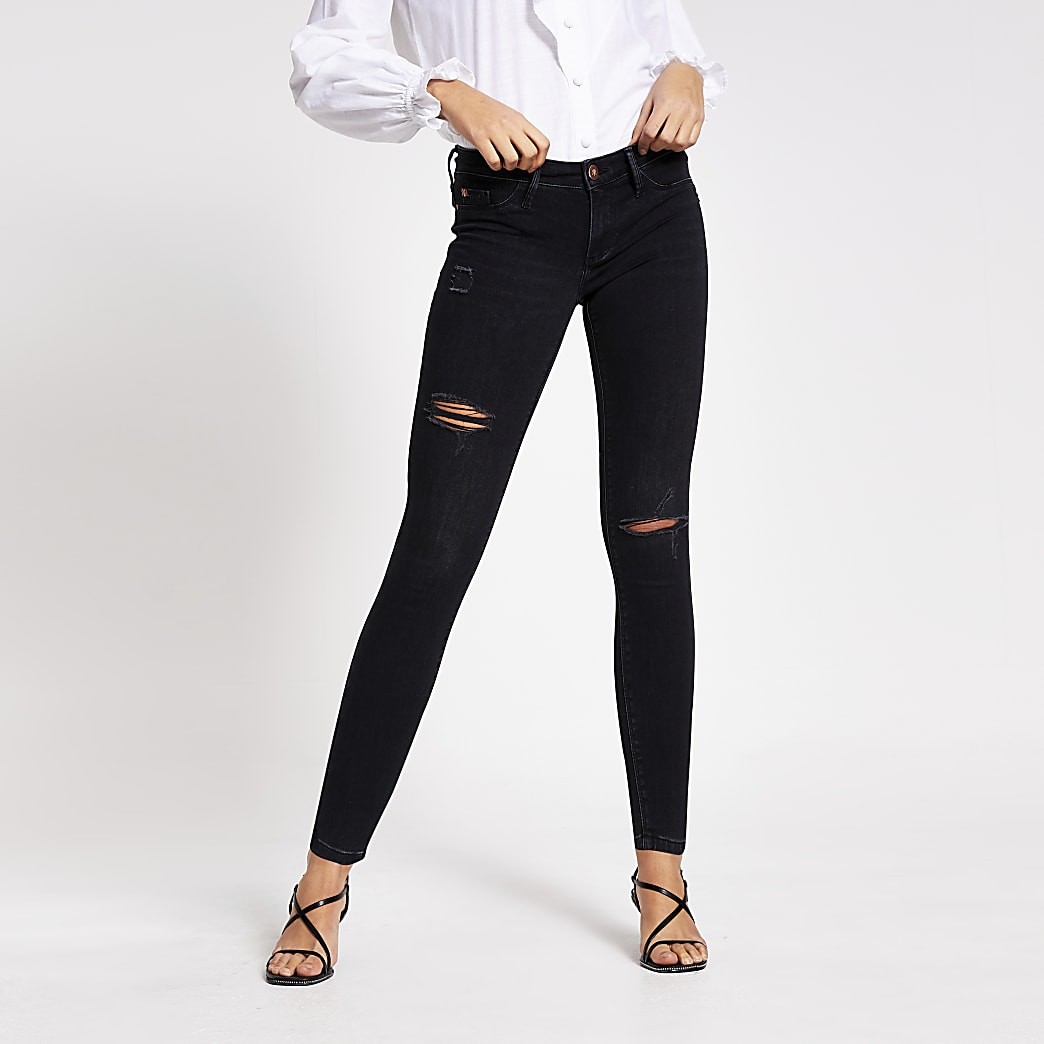 Black comfy low rise ripped jegging