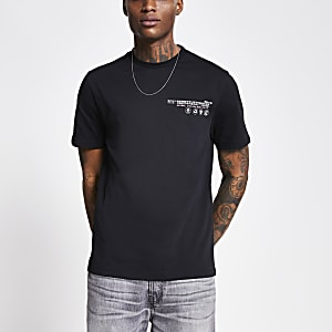 Black 'Community' print regular fit T-shirt