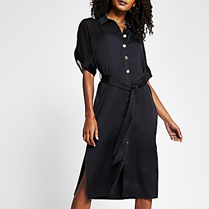 Black contrast chiffon shirt midi dress