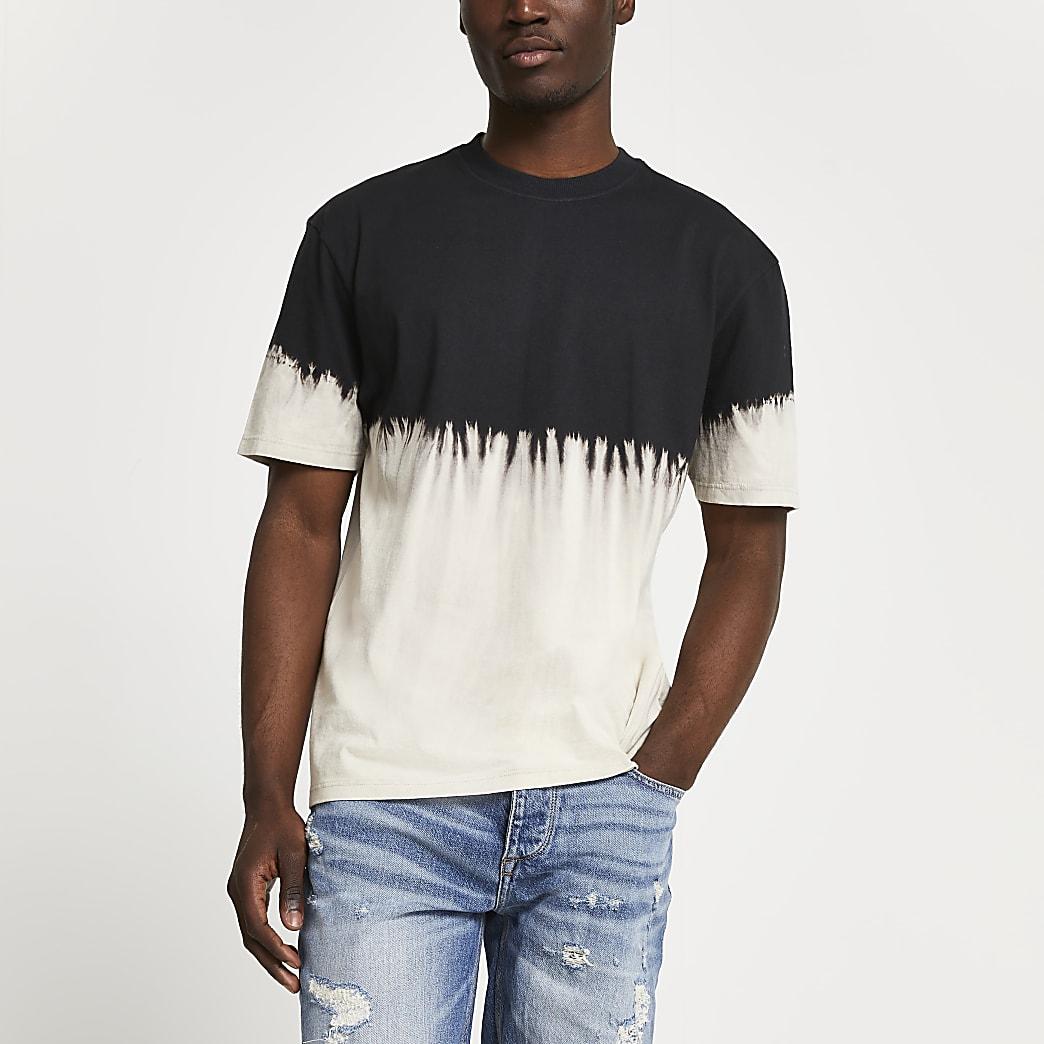 Black contrast dip dye t-shirt