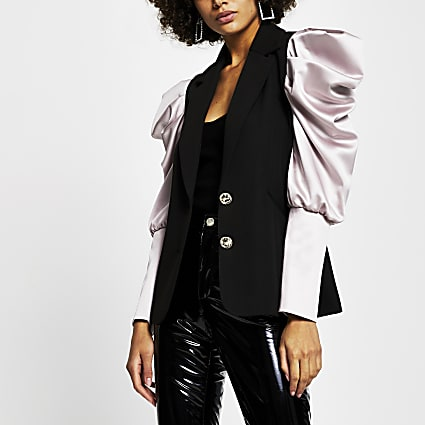 Black contrast sleeve blazer