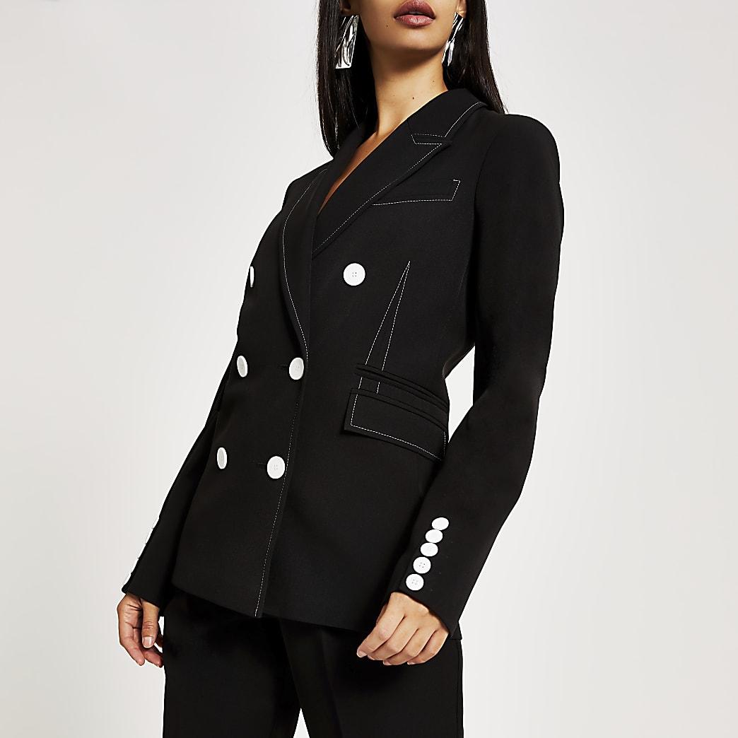 Black contrast stitch double breasted blazer