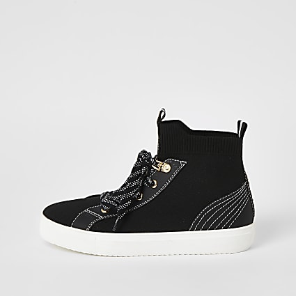 Black contrast stitch high top knit trainers