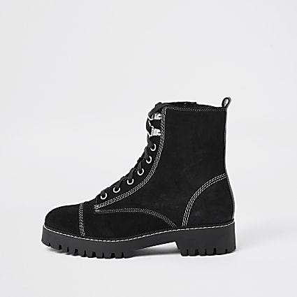 Black contrast stitch lace ankle boot