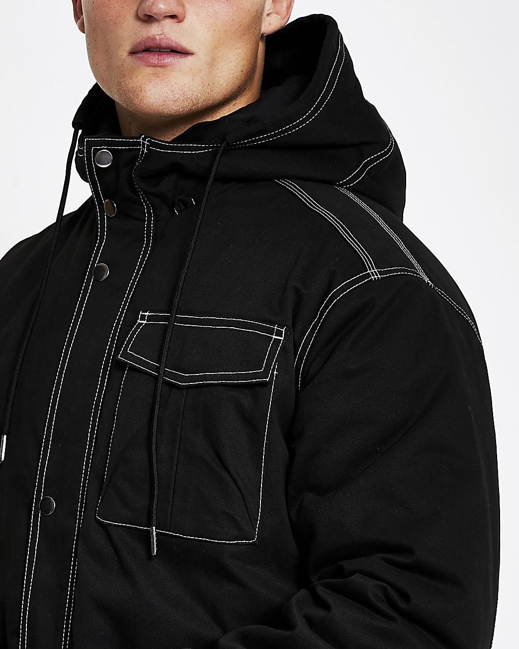 Black contrast stitch padded parka