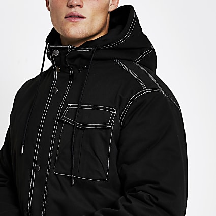 Black contrast stitch padded parka