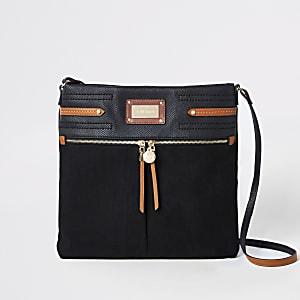 Black contrast trim messenger bag