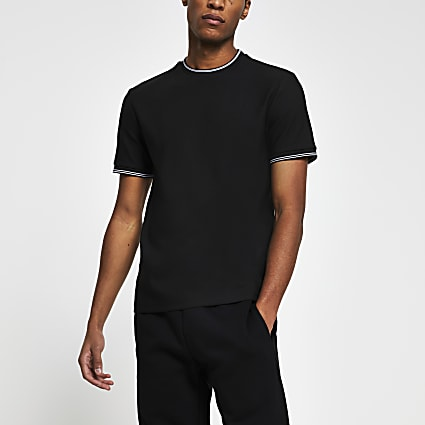 Black ​contrast trim slim fit t-shirt