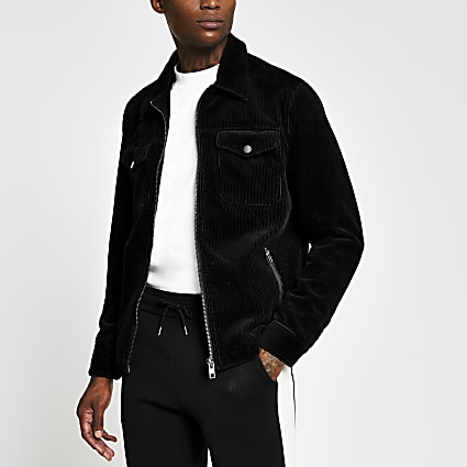 Black cord zip front western jacket