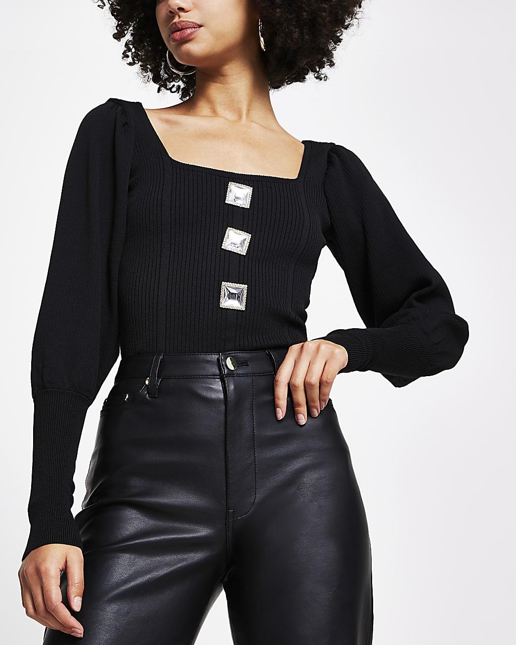 Black corset button long sleeve top