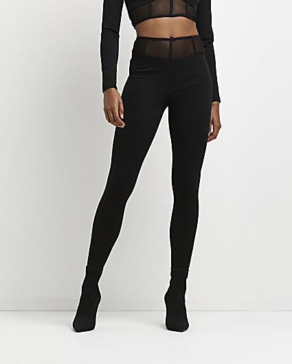 Black corset detail mesh trousers