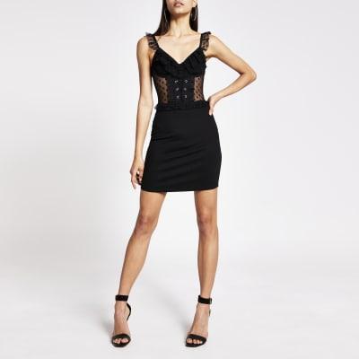 black corset frill neck mini bodycon dress  river island