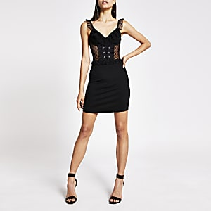 Black corset frill neck mini bodycon dress