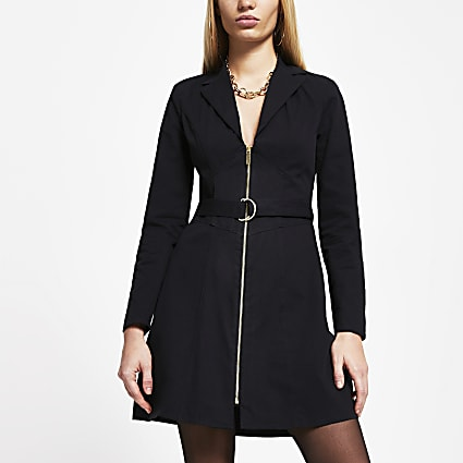 Black corset front zip blazer dress
