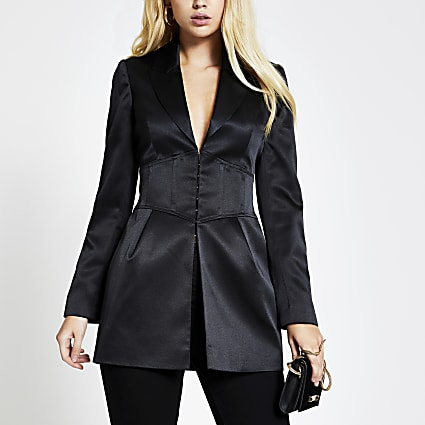 Black corset waist long sleeve satin blazer