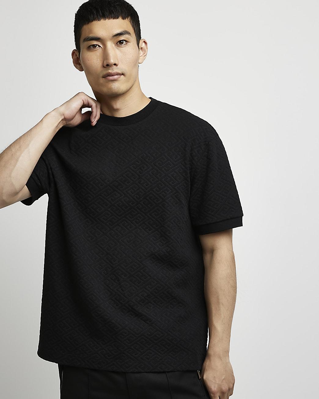 Black cotton jacquard slim fit t-shirt