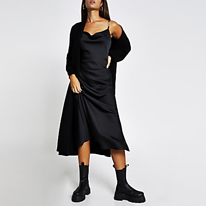 Black cowl midi dress slip Dress