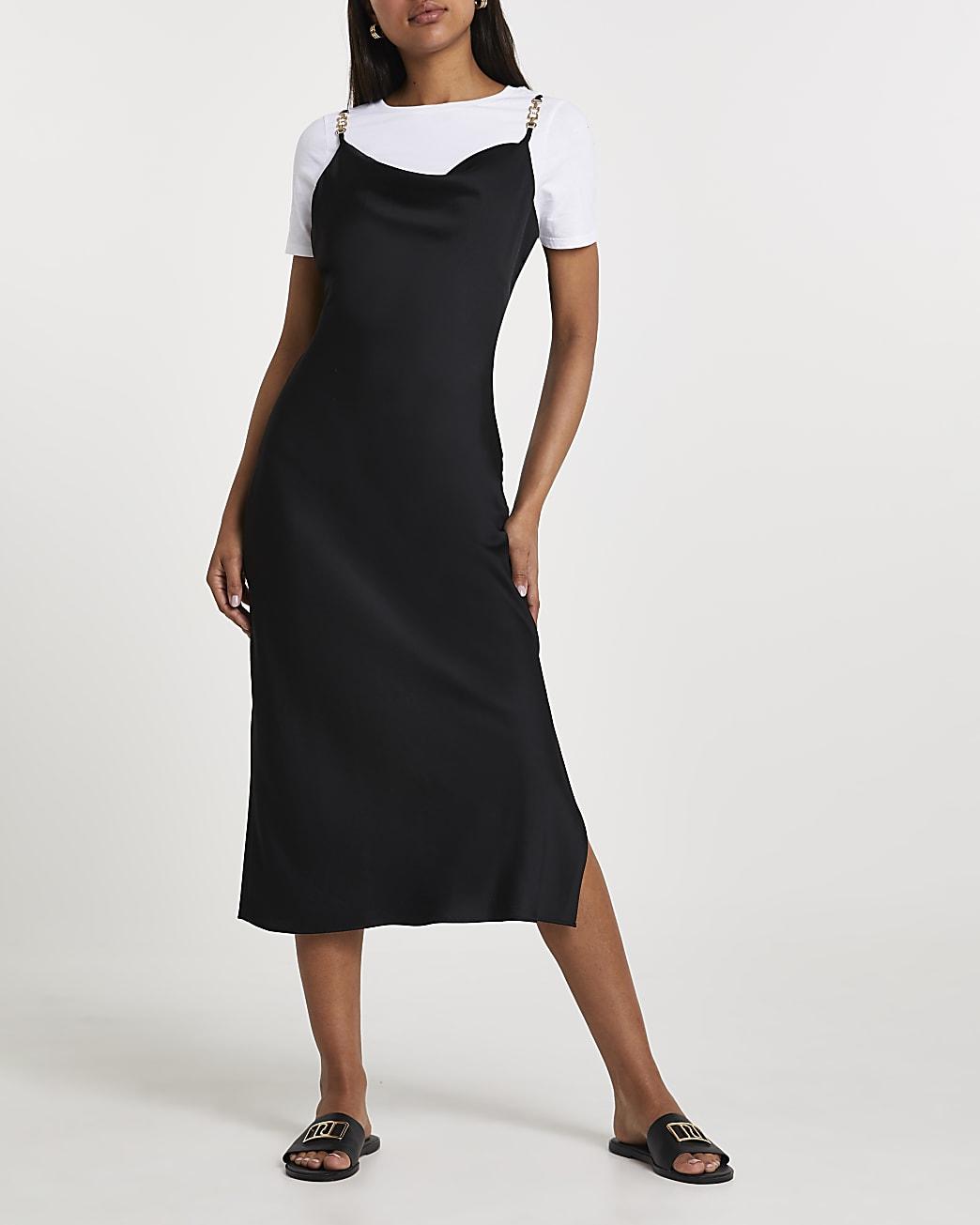 Black cowl neck midi dress with t-shirt