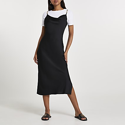 Black cowl neck midi dress with t-shirt