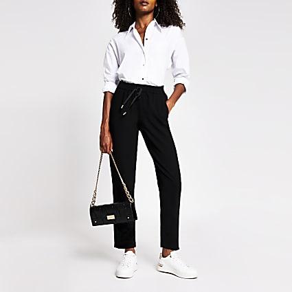 Black crepe jogger trouser