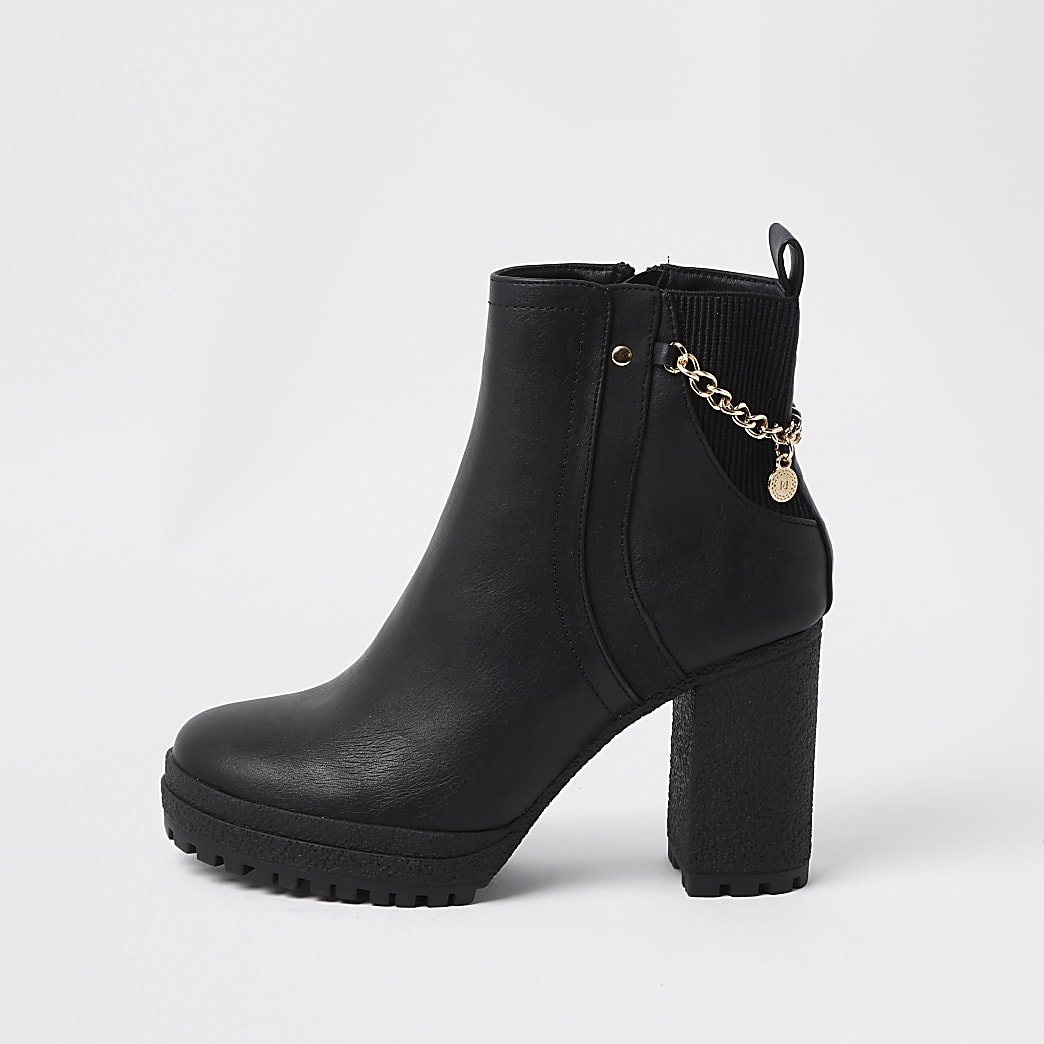 Black crepe sole ankle boot with chain detail