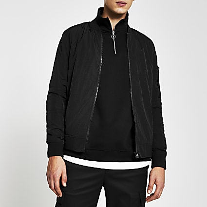 Black crinkle bomber jacket