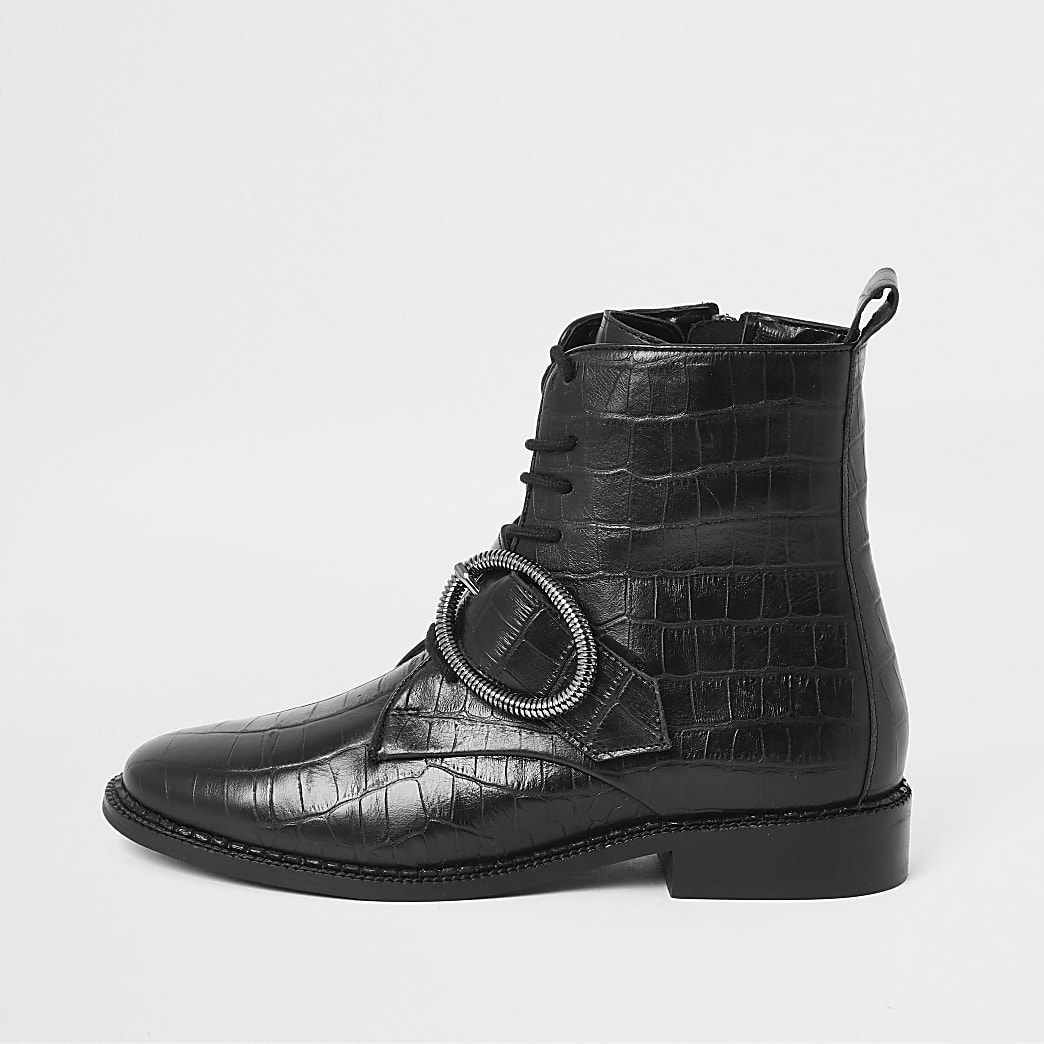 Black croc circle buckle lace-up boots
