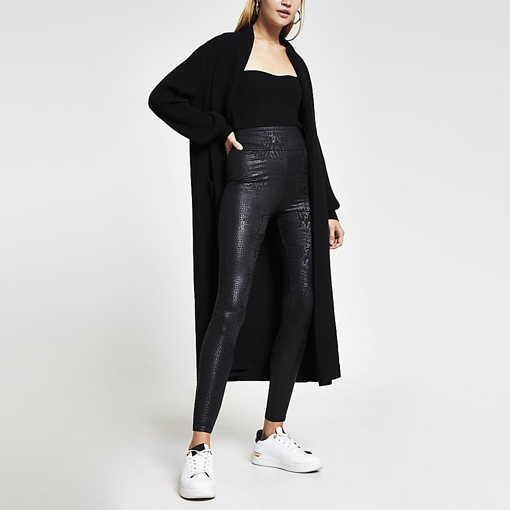 Black croc coated leggings