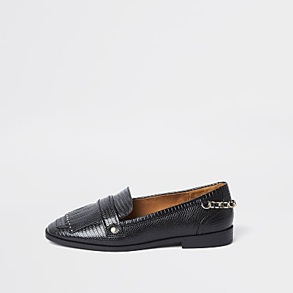 Black croc design fringe detail loafers