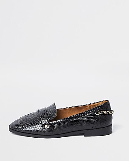 Black croc design fringe detail loafers