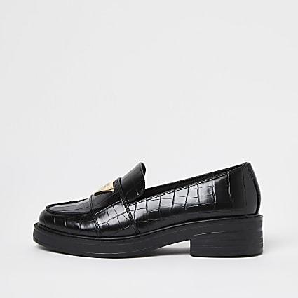 Black croc detail loafers
