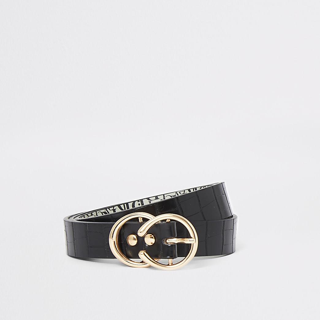 Black croc double ring buckle belt