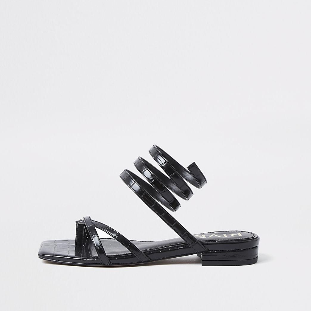 Black croc embossed ankle wrap flat sandal