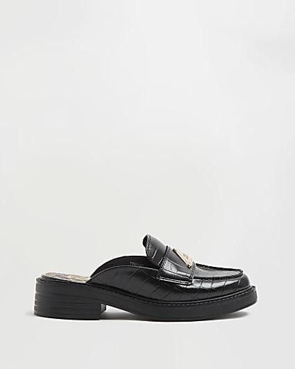 Black croc embossed backless loafers