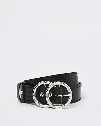 Black croc embossed buckle belt