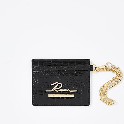 Black croc embossed card holder wallet