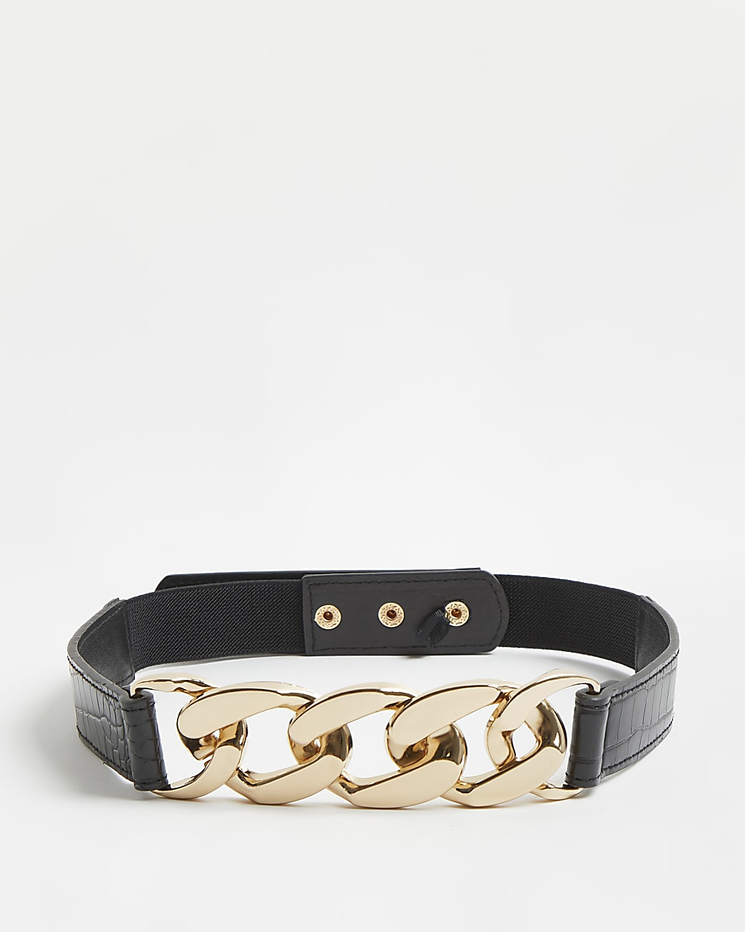 Black croc embossed chain detail belt