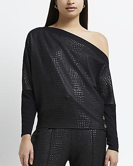Black croc embossed coated batwing sleeve top