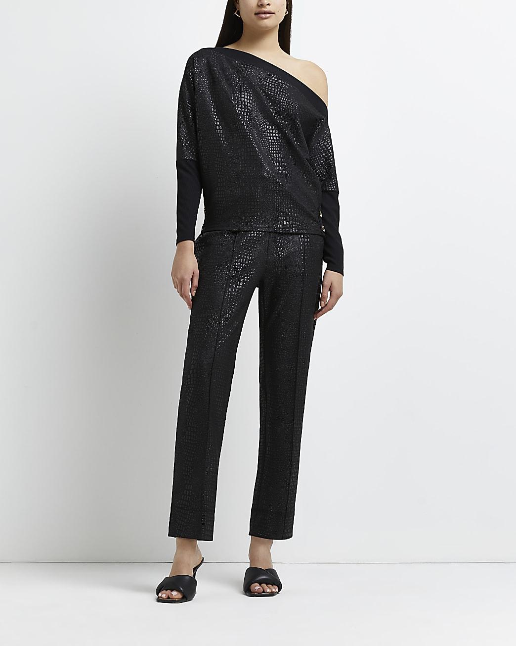 Black croc embossed coated trousers