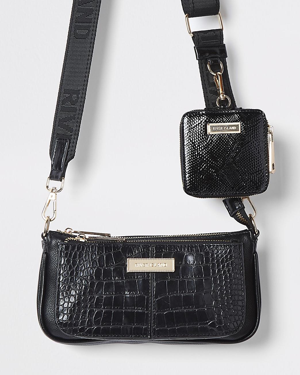 Black croc embossed cross body bag