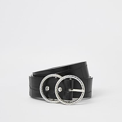 Black croc embossed double ring belt